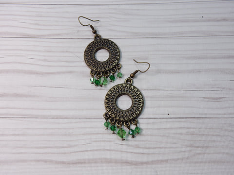 Embossed Circle Earrings With Crystazzi Crystals