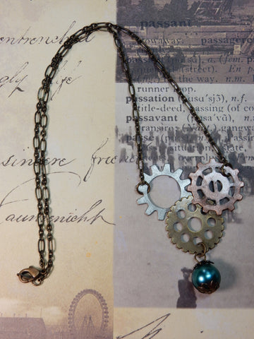Multi-Gear Necklace With Pearl Charm