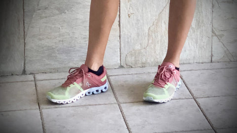 Ines Santiago wearing the new generation Cloudflow in Guava Dustrose from On Running
