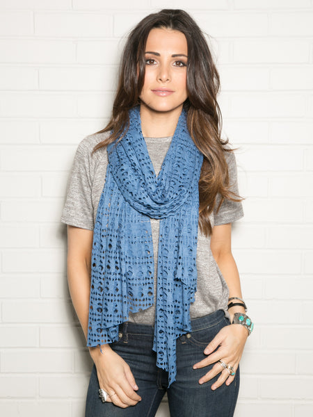 DISTRESSED BLUE WRAP SCARF