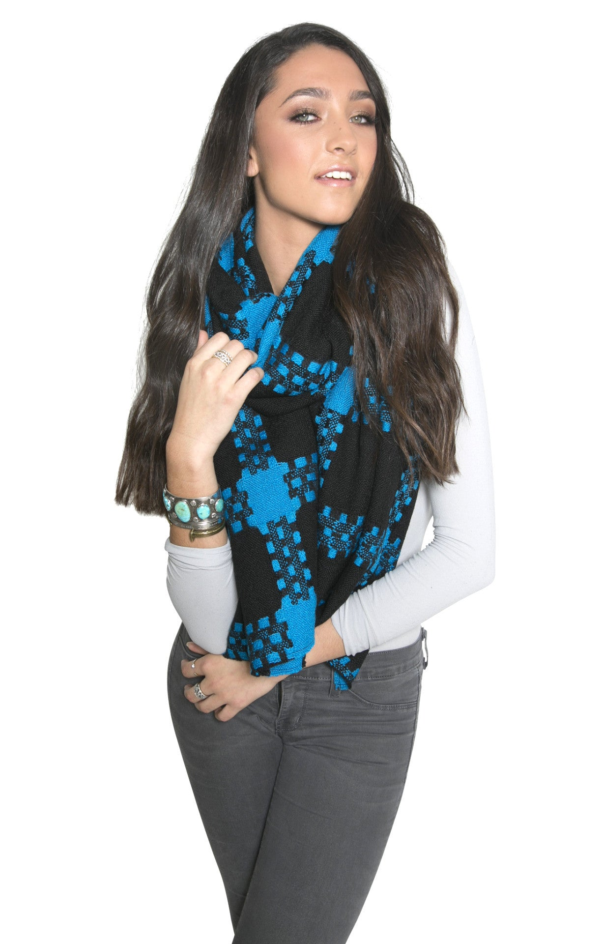 OVERSIZED HOUNDSTOOTH WRAP