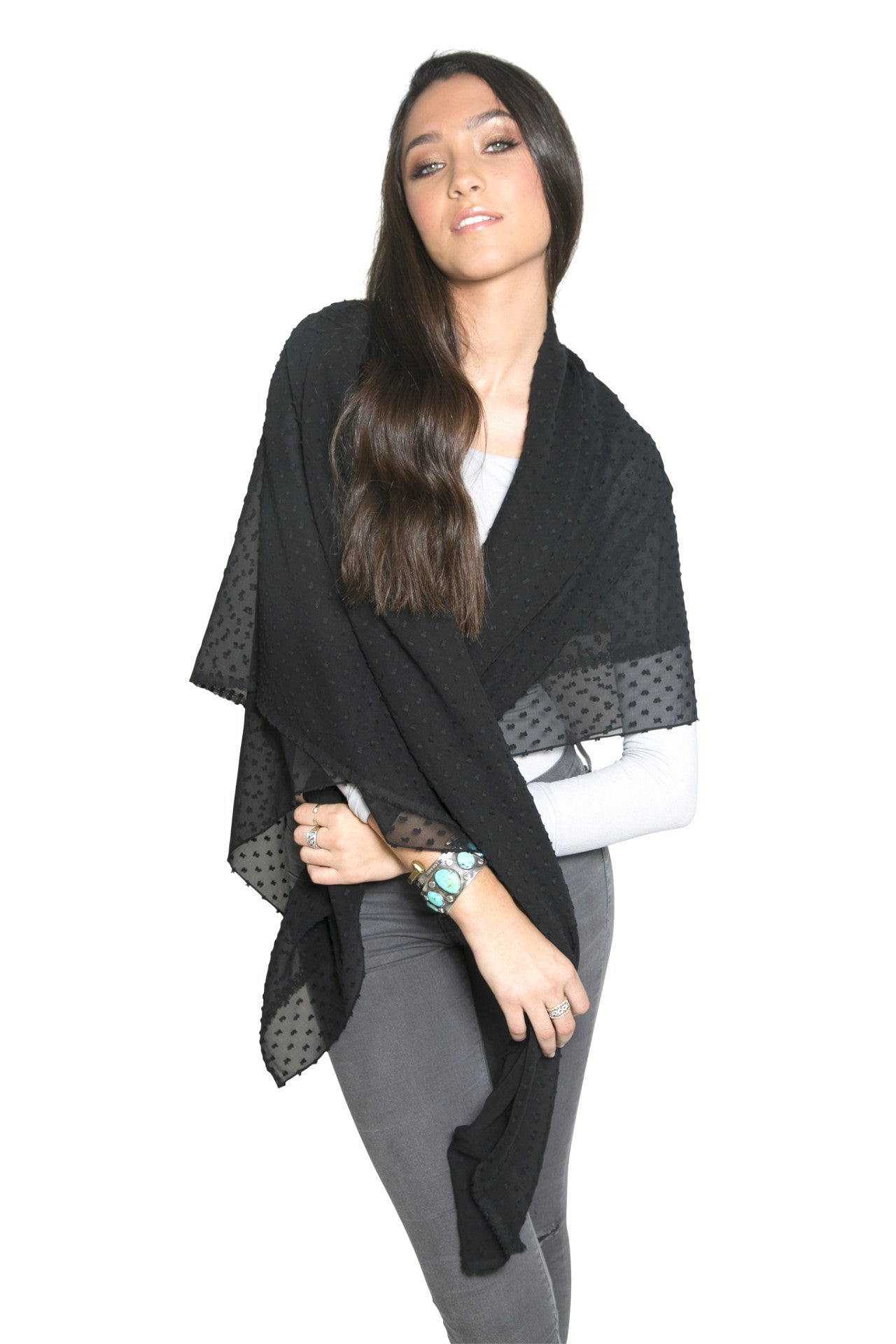 BLACK SHEER DOTTED SCARF