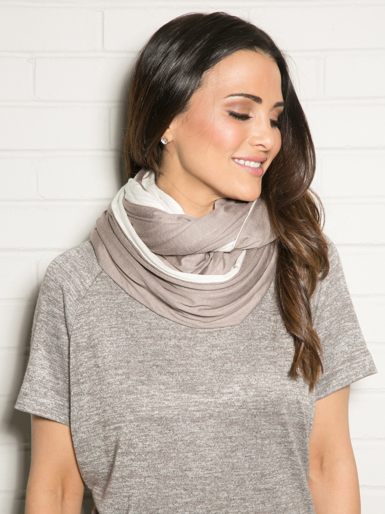IVORY/TAUPE DOUBLE SIDED JERSEY INFINITY