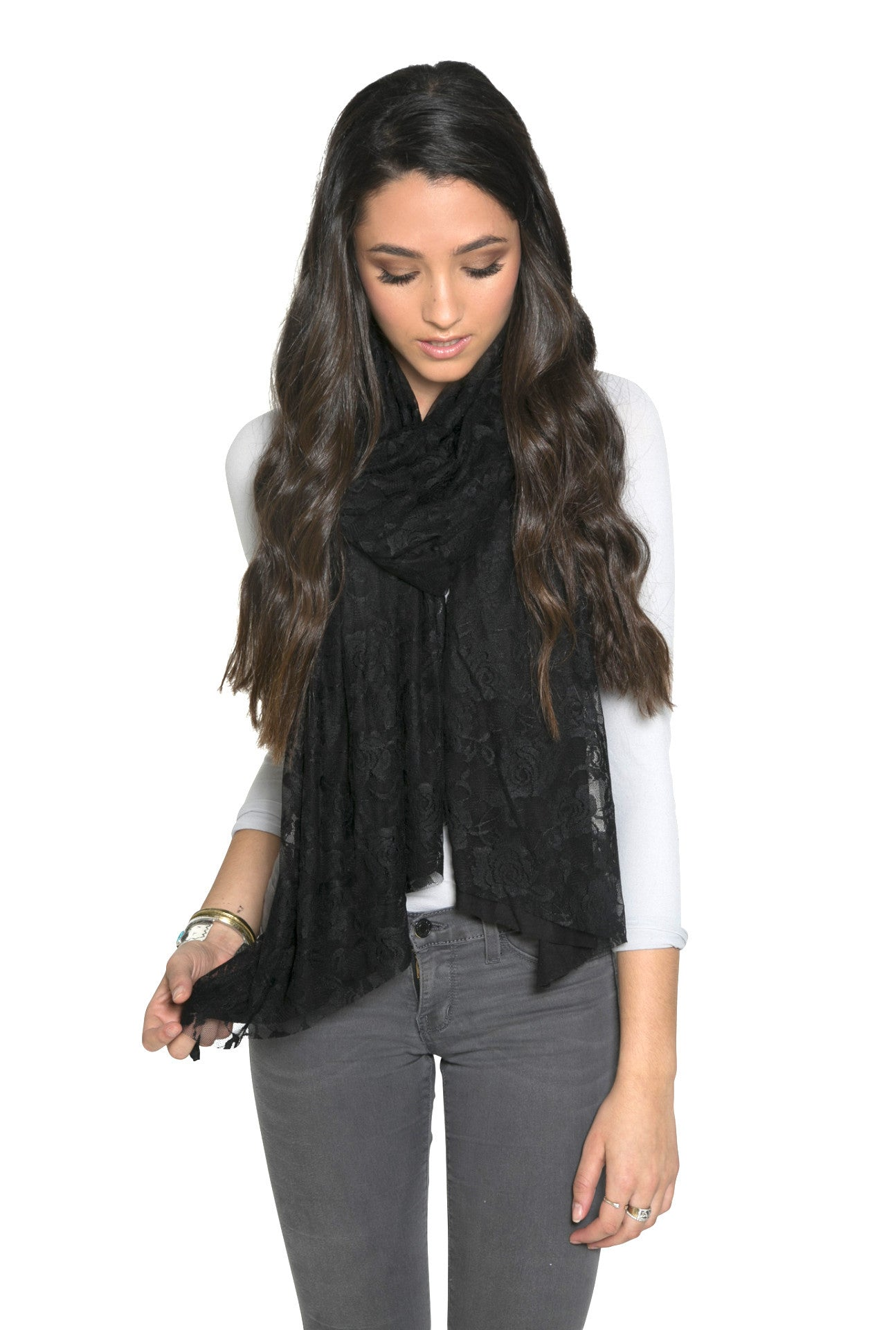 BLACK LACE WRAP WITH BLACK JERSEY