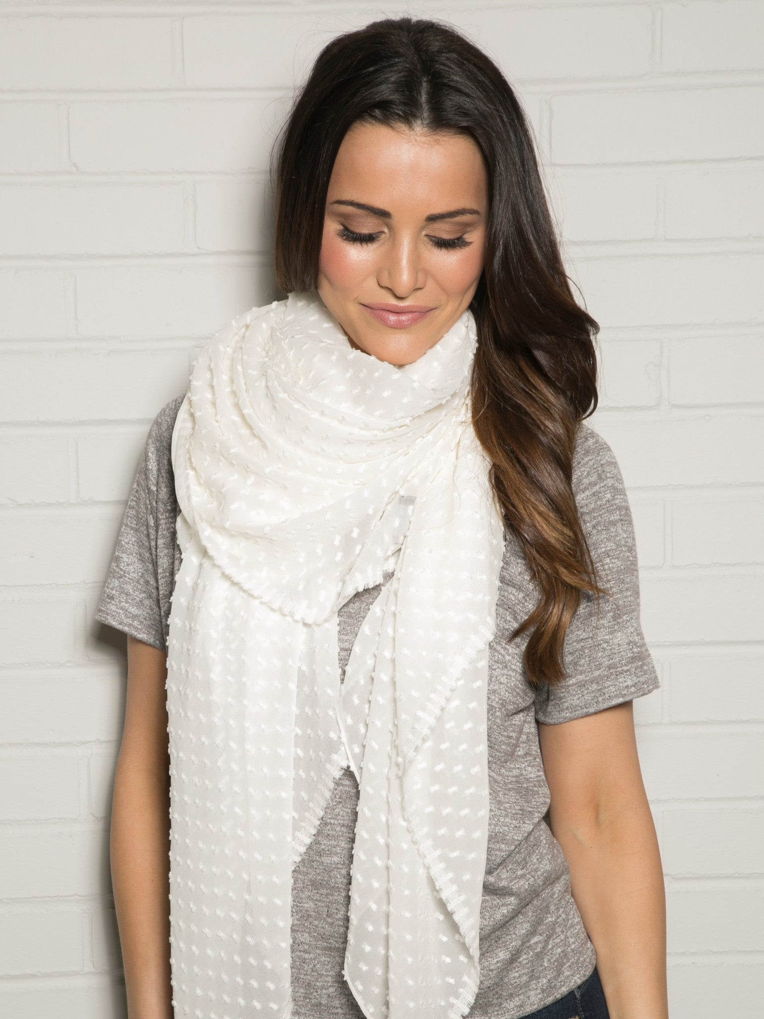 IVORY SHEER DOTTED WRAP SCARF