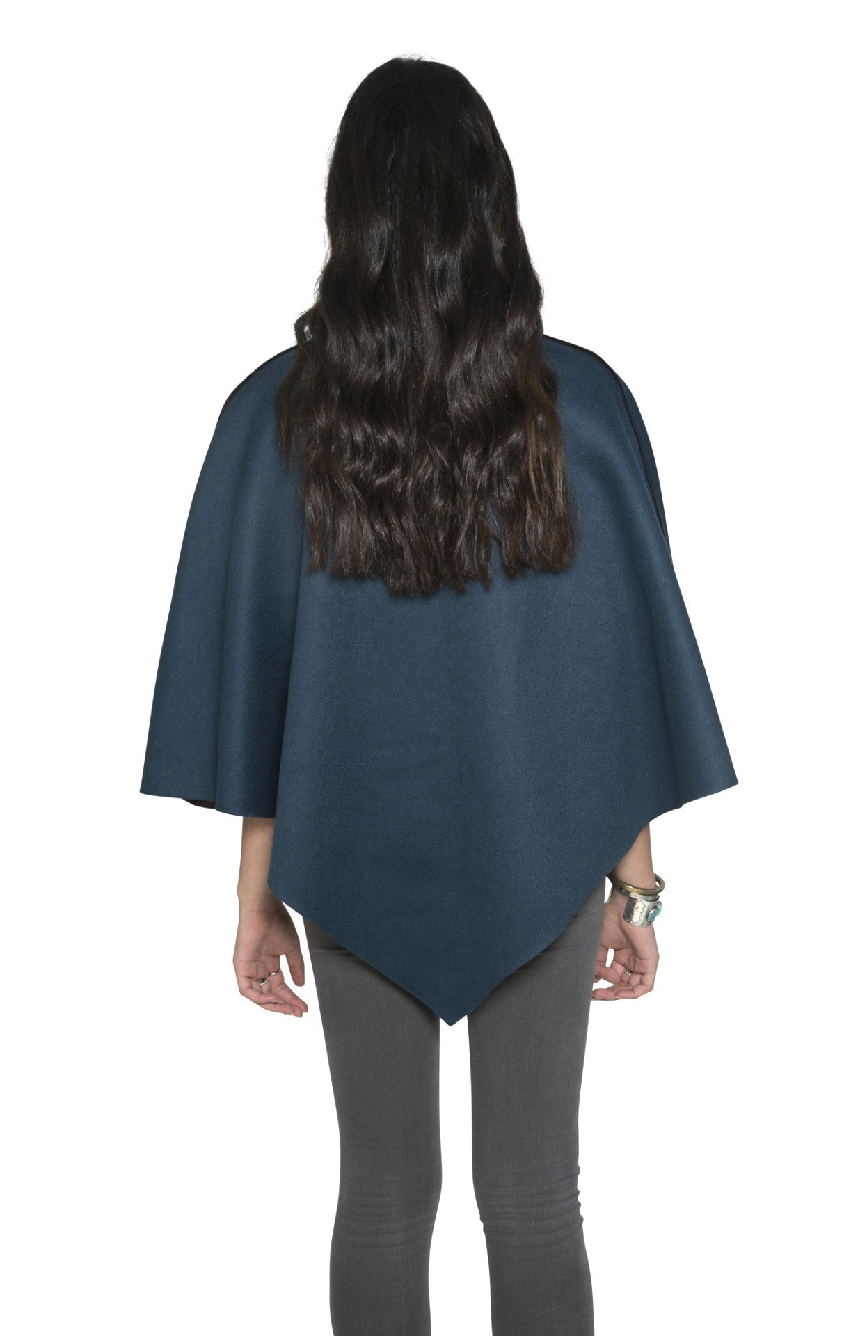 MAROON & TEAL CASHMERE CAPE
