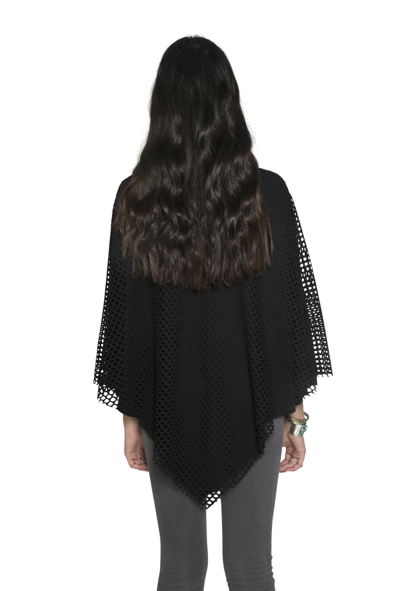BLACK CUTOUT CAPE WITH JERSEY