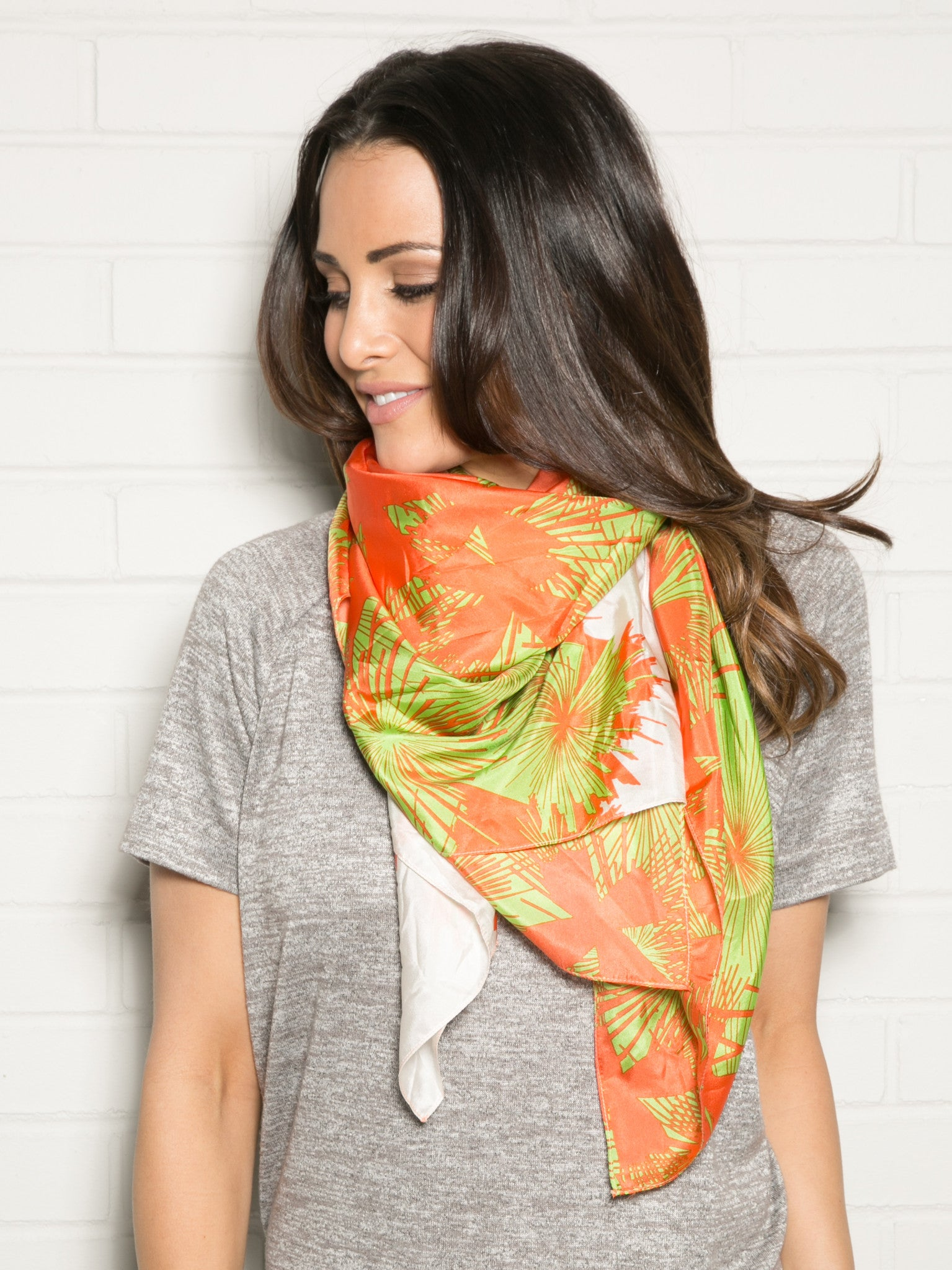 CORAL AND LIME SILK SCARF