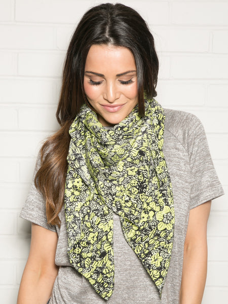 BLACK AND LIME SILK SCARF