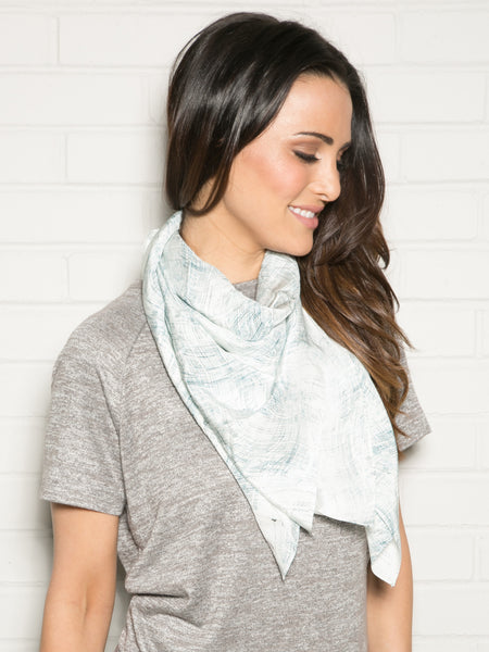 PALE BLUE LINES SILK SCARF