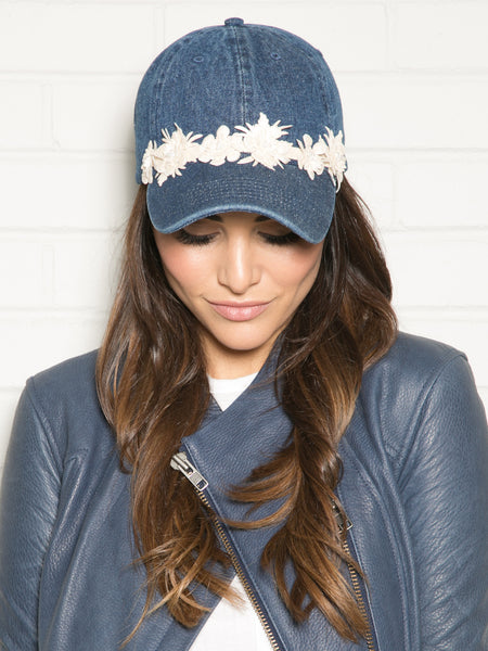 DENIM HAT WITH FLOWER LEATHER TRIM