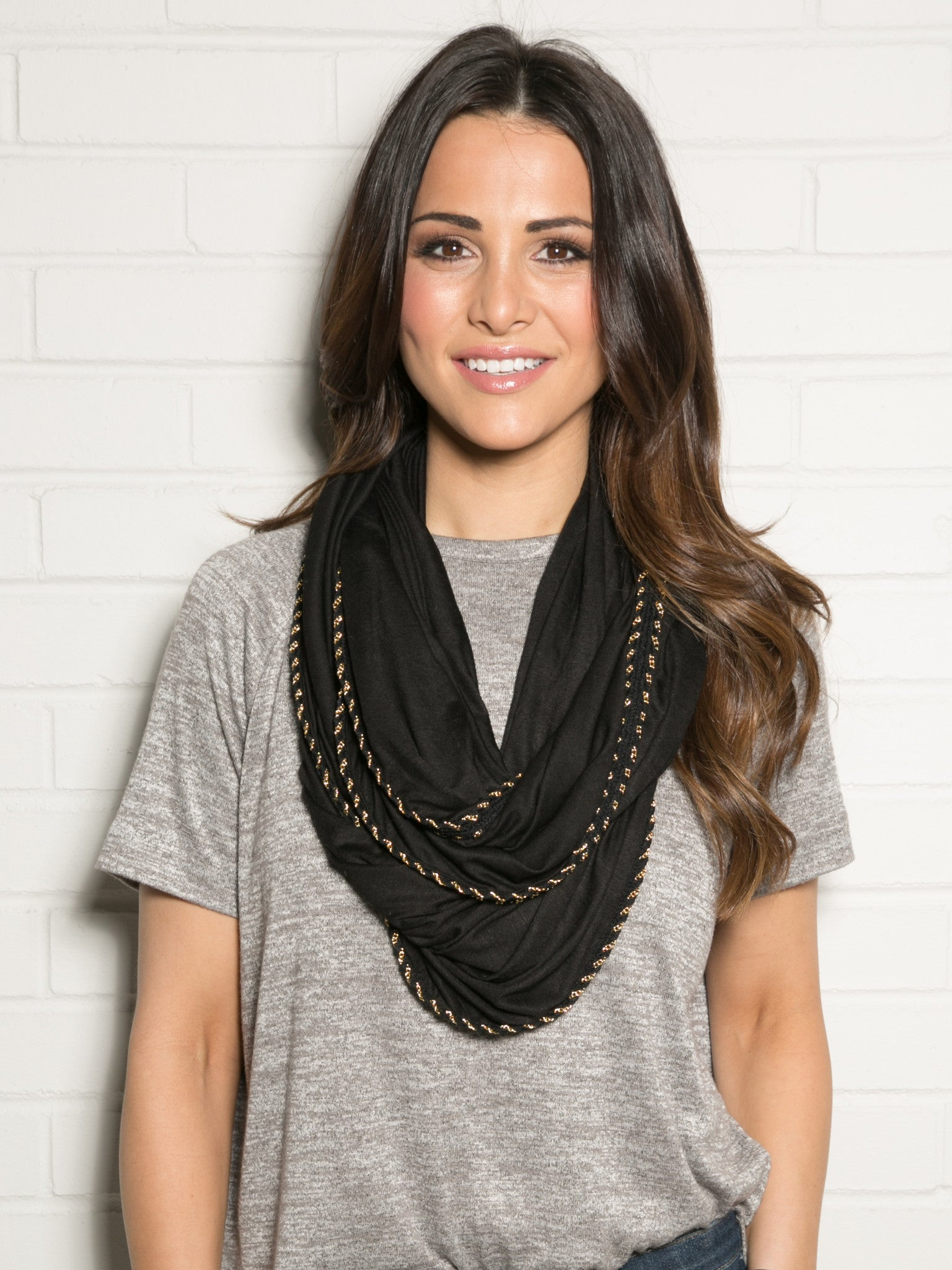 BLACK & GOLD CHAIN BRAID INFINITY