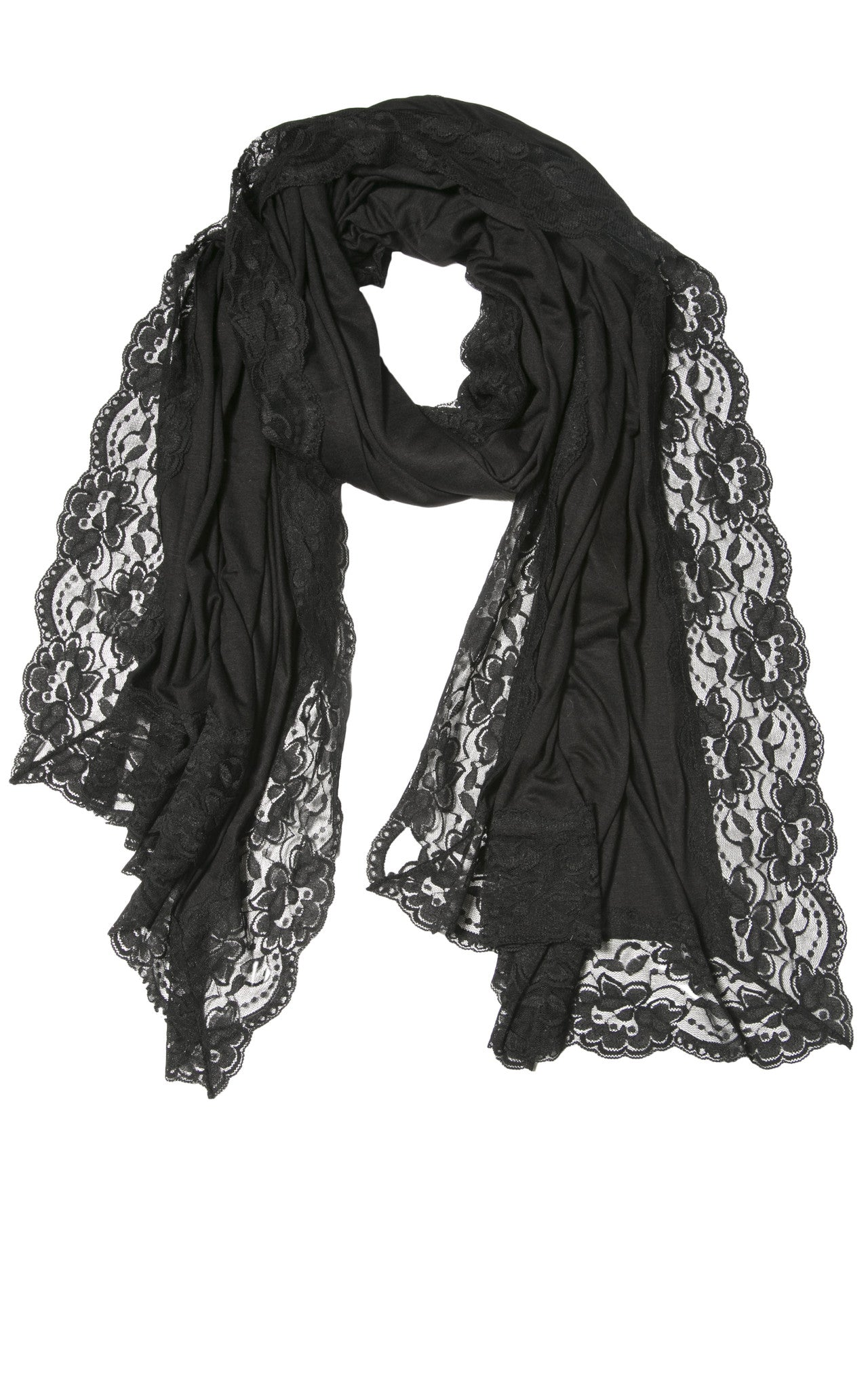 BLACK LACE EDGED WRAP