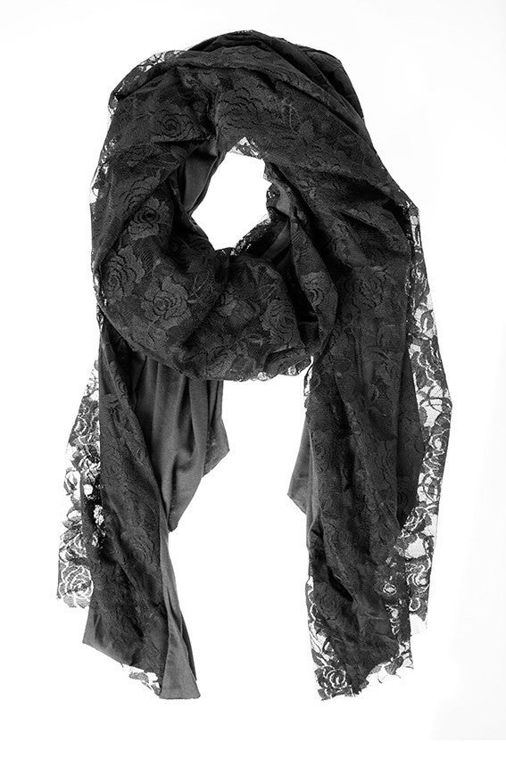 BLACK LACE WRAP WITH JERSEY