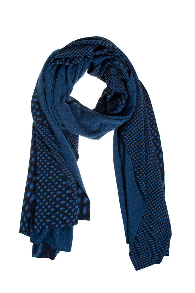 Printed Navy Jersey Wrap Scarf