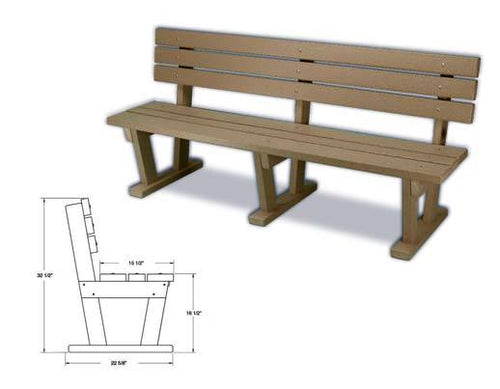 Nordesco Bench with Backrest 72 inch