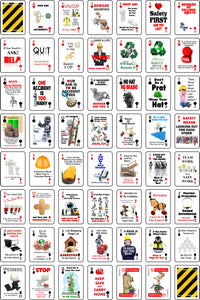 52 safety messages on the faces of playing cards with pips