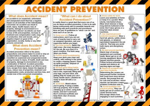 Accident Prevention poster with images depicting how to avoid accidents ansd injury.