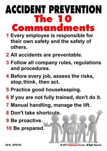 Group of people under the text of the ten commandments of accident prevention.