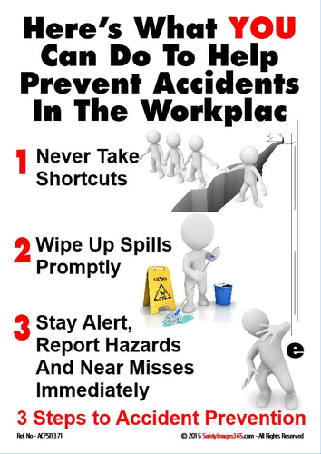 Group of people showing what they can do to help prevent accidents in the workplace