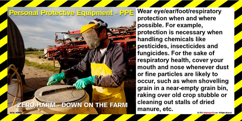 Farmer wearing full PPE protection whilst opening farm storage vessel.