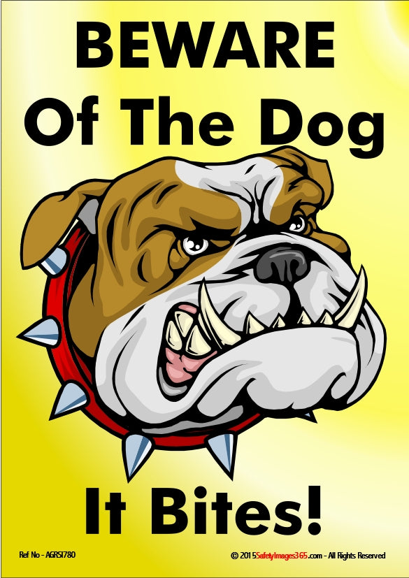 Picture of a angry looking cartoon dog with large teeth and a spiked collar.
