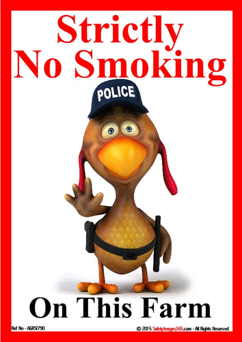Cartoon chicken dressed as a police officer making a stop sign.