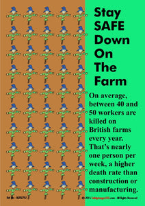 A picture of rows of identical scarecrows depicting the average number of deaths per year in farming.