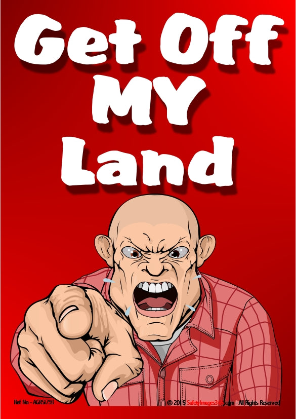 Picture of a scary looking man pointing a finger and saying get off my land.