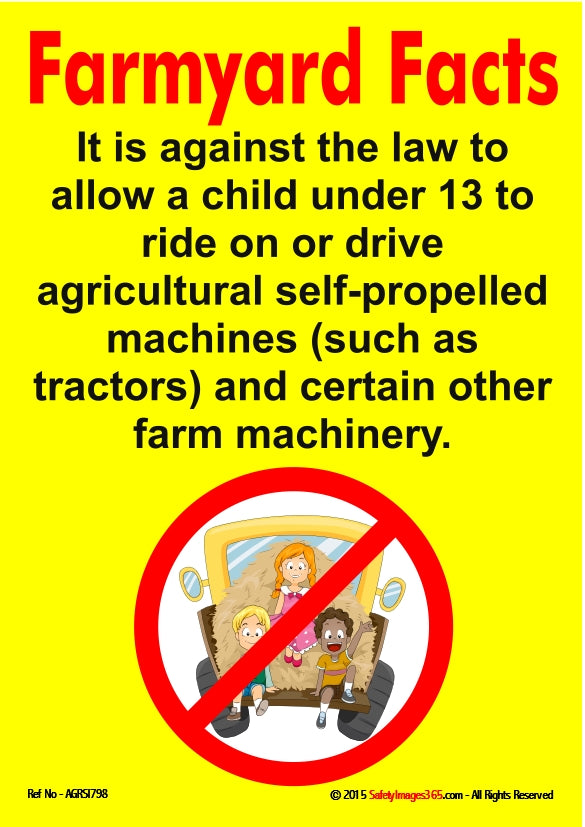 Red prohibition circle containing a picture of children driving a farm vehicle.