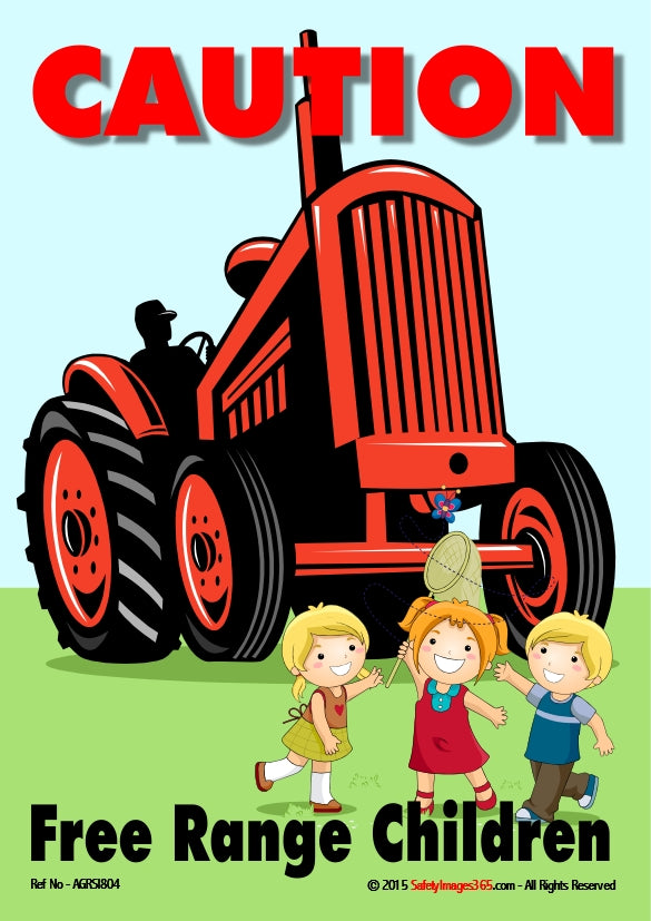 Picture of three children, laughing and playing in front of a large red tractor.