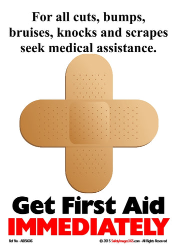 Picture of a sticking plaster in the shape of a cross signifying the symbol for first aid.