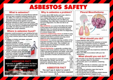 Asbestos Safety poster with graphics depicting asbestos hazards all around us - At home and in the workplace