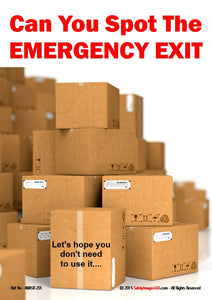 Pile of boxes blocking access to Emergency Exit