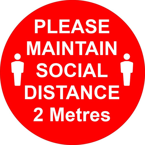 Button Badges - PLEASE MAINTAIN SOCIAL DISTANCE 2 METRES.
