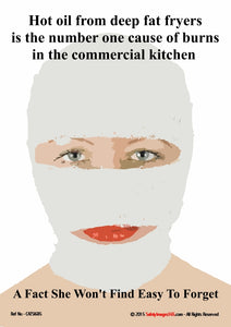 Woman with full face bandage following hot oil splash from deep fat fryer.