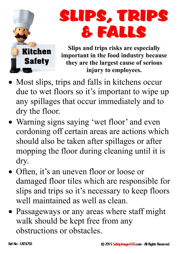 A list of guidelines for avoiding slips, trips and falls illustrated with a cartoon chef.