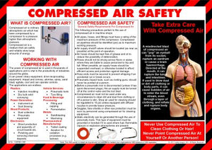 Compressed Air info poster depicting body parts that could be affected because of the ingress of compressed air into the body.