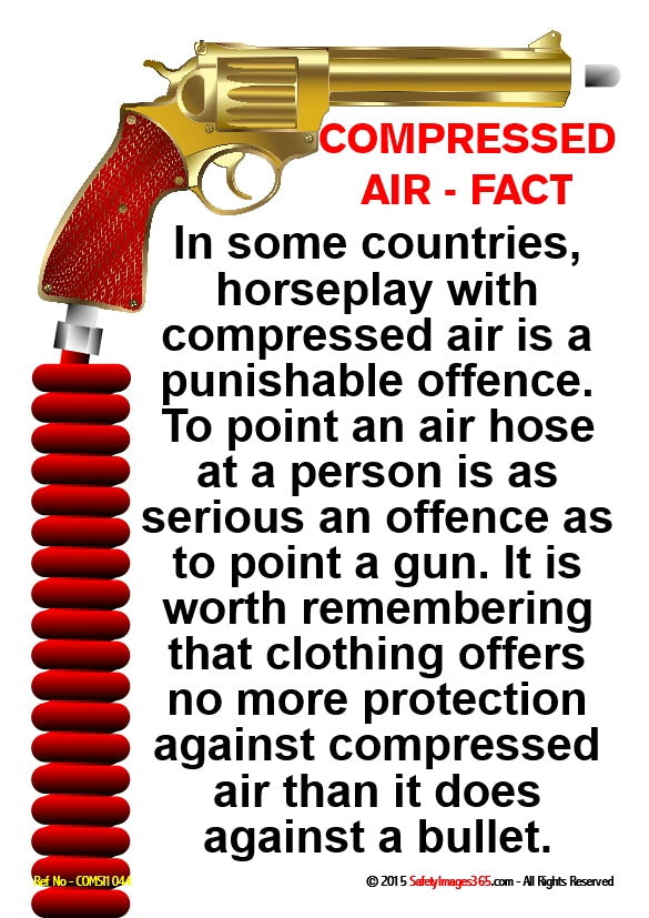 A gun attached to a compressed air hose and a list of dangers associated with using compressed air irresponsibly.