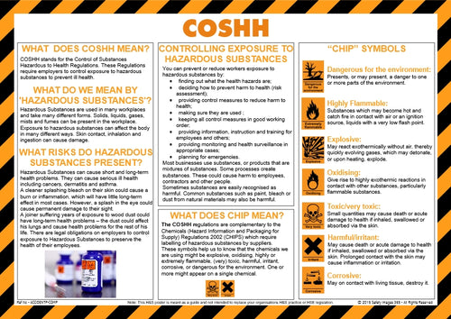 Poster showing the COSHH regulations and and the dangers involved with handling chemicals.