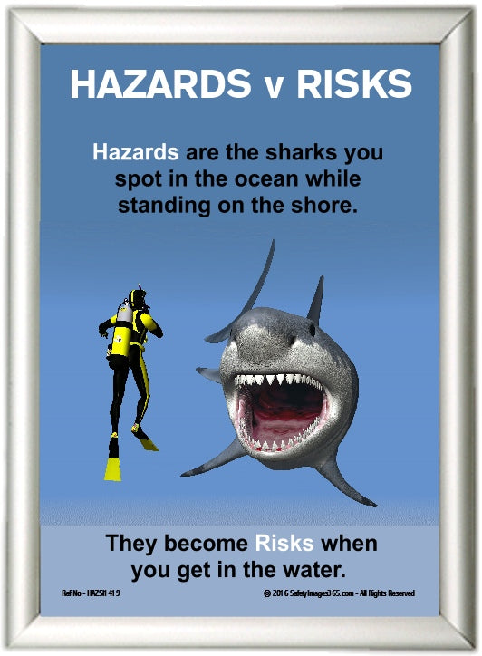 Aluminium click frame for posters, exampled with diver and shark