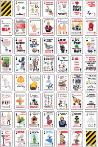 52 construction safety messages on the faces of playing cards with pips