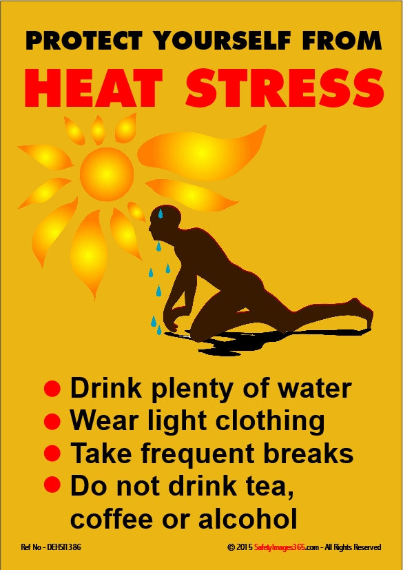 Vibration In Foot >> Dehydration Safety Poster. Protect yourself from heat ...