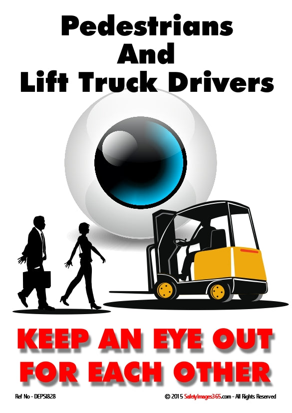 Man and woman walking towards a fork lift truck with large eye in the background.