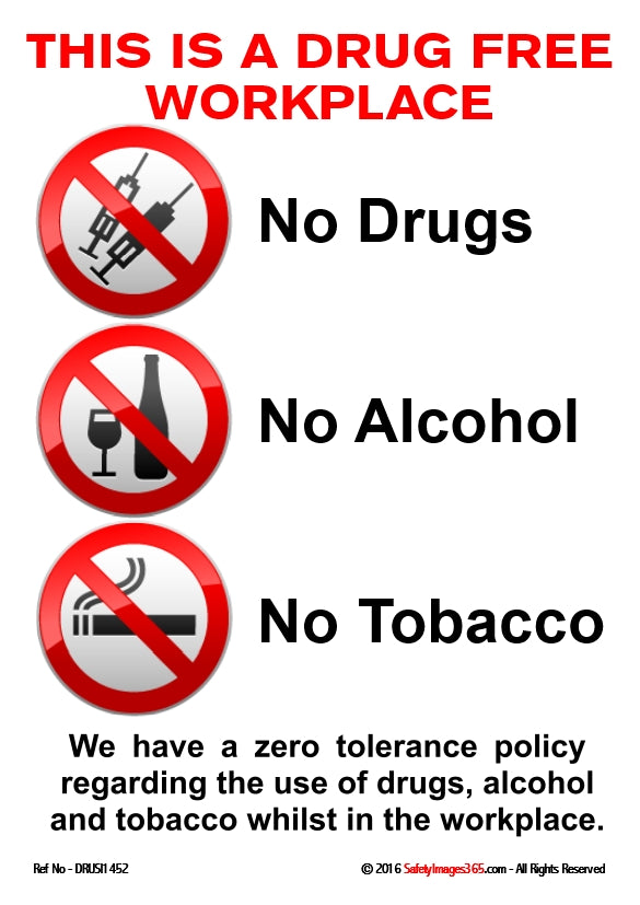 Three red prohibition circles containing images of syringes, alcoholic drink and cigarettes on a white background.