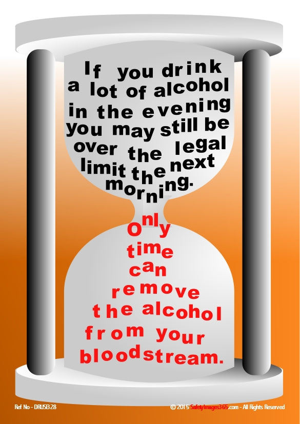 Hour glass with alcohol advice wording running from top to bottom.