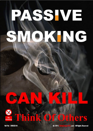 The words passive smoking written in white text with some letters substituted with images of cigarettes.