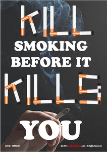 Image of burning cigarette in a human hand and text written using cigarettes as letters.