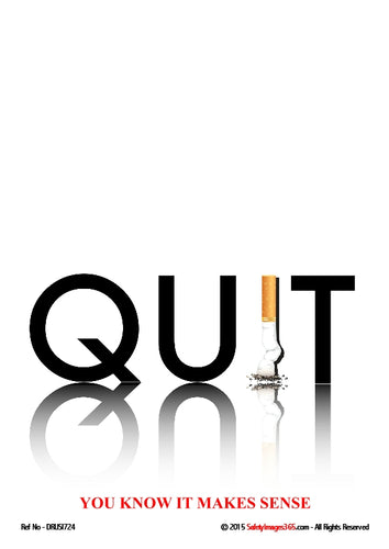 The word quit in capital letters with the a stubbed out cigarette depicting the letter I.