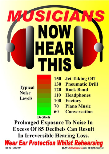 A pair of headphones and a scale of decibels associated with different sounds.